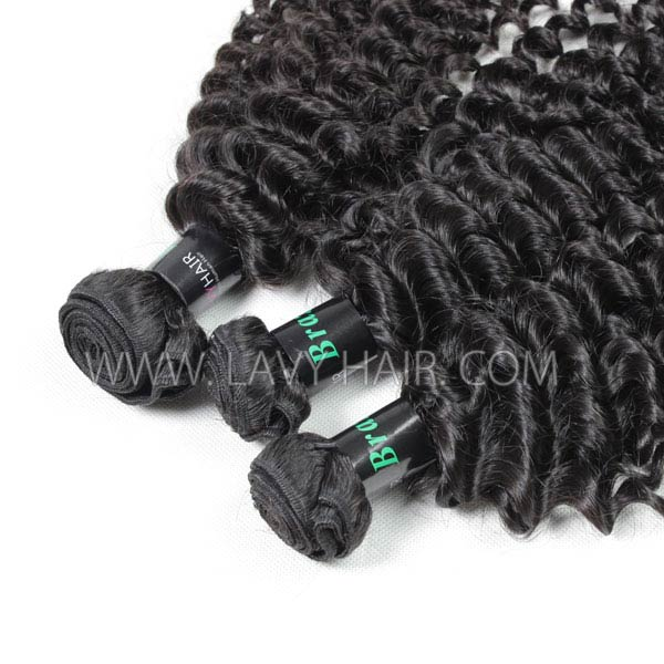 Superior Grade 3/4 bundles with 4*4 lace closure Deep Curly Virgin Human hair Brazilian Peruvian Malaysian Indian European Cambodian Burmese Mongolian
