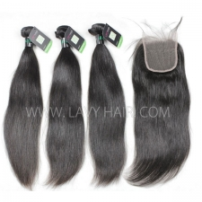 Regular Grade mix 4 bundles with lace closure Brazilian Straight Virgin Human hair extensions