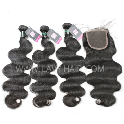 Superior Grade mix 3 bundles with lace closure Brazilian Body wave Virgin Human hair extensions