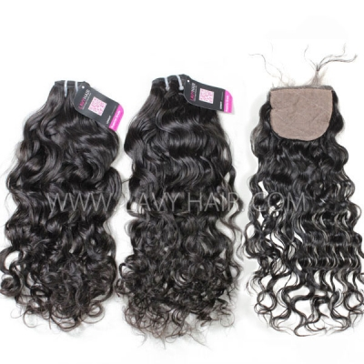 "Superior Grade mix 3 bundles with silk base closure 4*4"" Burmese natural wave Virgin Human hair extensions"