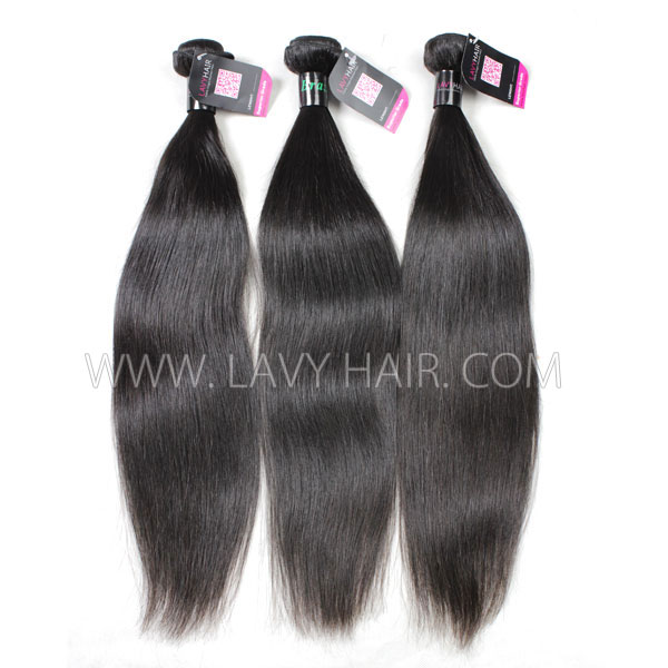 Superior Grade mix 3 bundles with lace closure Brazilian Straight Virgin Human hair extensions