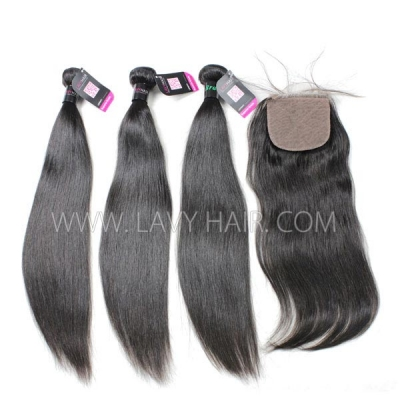 "Superior Grade 3 bundles with silk base closure 4*4"" Straight Virgin hair Brazilian Peruvian Malaysian Indian European Cambodian Burmese Mongolian"