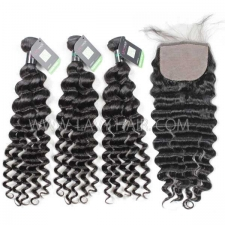 "Regular Grade mix 4 bundles with silk base closure 4*4"" Brazilian Deep wave Virgin Human hair extensions"