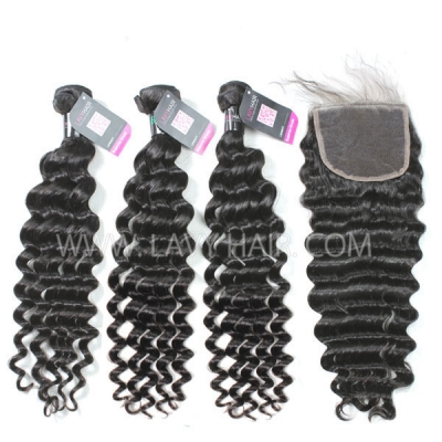 Superior Grade mix 3 bundles with lace closure Brazilian Deep wave Virgin Human hair extensions