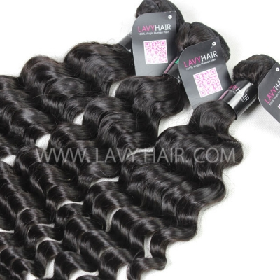 "Superior Grade mix 4 bundles with silk base closure 4*4"" Brazilian Deep wave Virgin Human hair extensions"