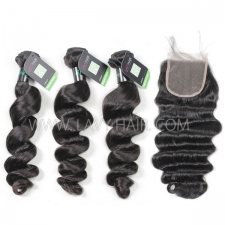 Regular Grade mix 4 bundles with lace closure Brazilian Loose Wave Virgin Human hair extensions