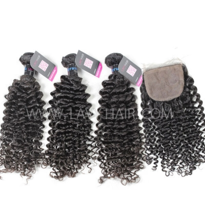 "Superior Grade mix 4 bundles with silk base closure 4*4"" Peruvian Deep Curly Virgin Human hair extensions"