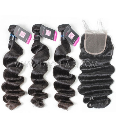 Superior Grade mix 4 bundles with lace closure Peruvian Loose Wave Virgin Human Hair Extensions