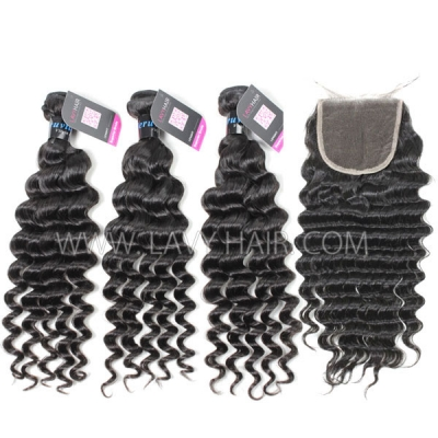 Superior Grade mix 4 bundles with lace closure Peruvian Deep wave Virgin Human hair extensions