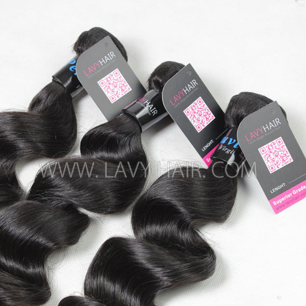 Superior Grade mix 3 bundles with lace closure Peruvian loose wave Virgin Human hair extensions