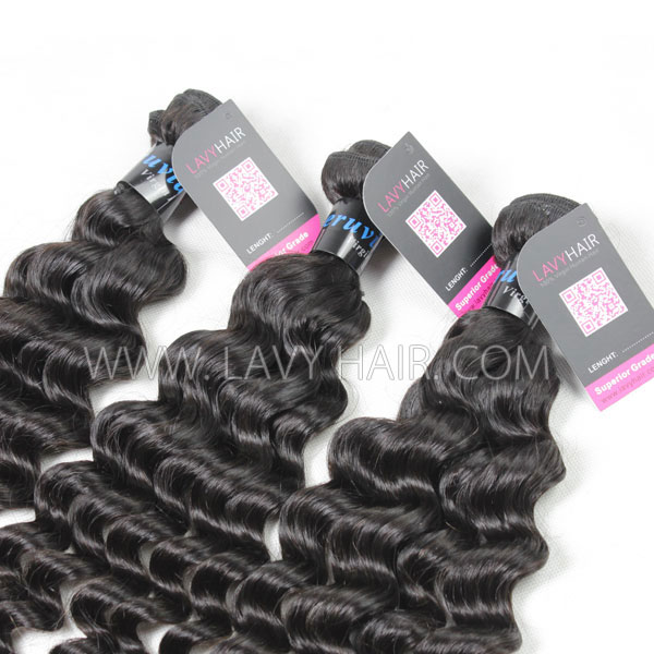 Superior Grade mix 3 bundles with lace closure Peruvian Deep wave Virgin Human hair extensions