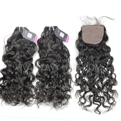 "Superior Grade mix 3 bundles with silk base closure 4*4"" Peruvian Natural Wave Virgin Human Hair Extensions"
