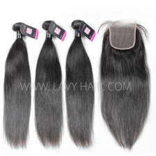 Superior Grade mix 4 bundles with lace closure Peruvian Straight Virgin Human Hair Extensions