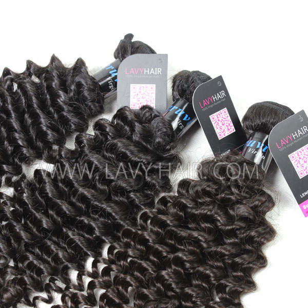 Superior Grade mix 3 bundles with lace closure Peruvian Deep Curly Virgin Human hair extensions