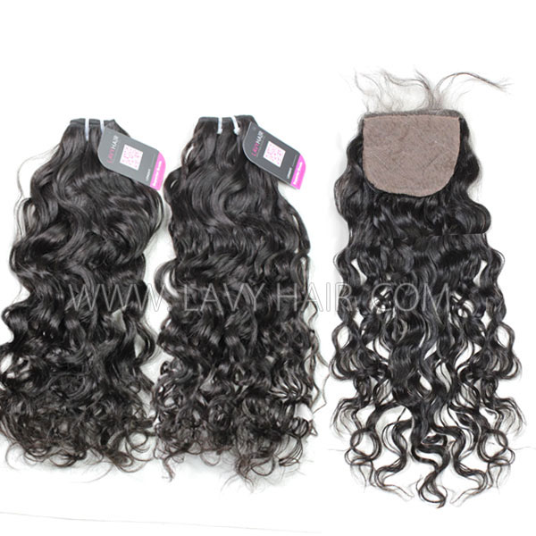 "Superior Grade mix 4 bundles with silk base closure 4*4"" Peruvian Natural Wave Virgin Human Hair Extensions"