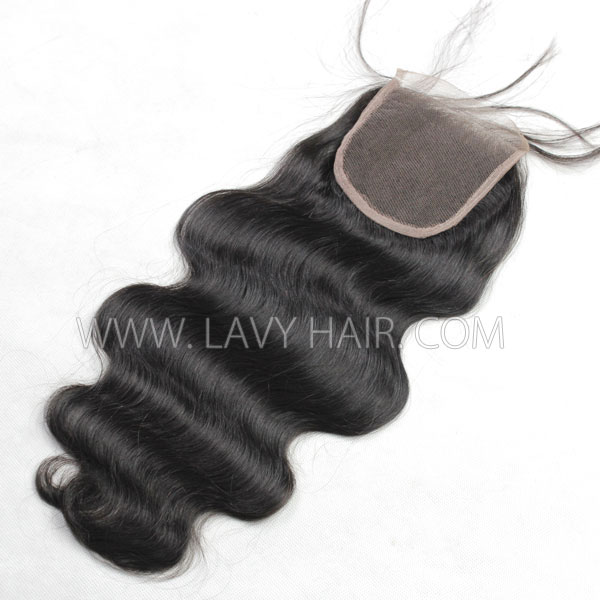 "Lace top closure 5*5"" body wave Human hair medium brown Swiss lace"