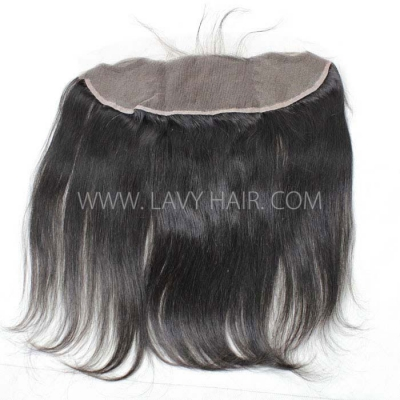 #1B Color Ear to ear 13*4 Lace Frontal Straight Hair Human hair Swiss lace