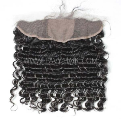 Silk Base Frontal (13*4) Deep Wave Human medium brown