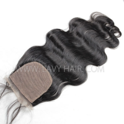 Silk base closure 4*4 body wave Human hair medium brown