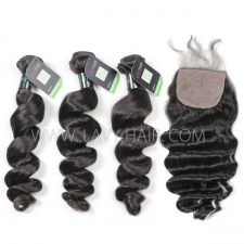"Regular Grade mix 4 bundles with silk base closure 4*4"" Brazilian loose wave Virgin Human hair extensions"