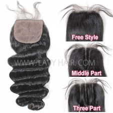 Silk base closure 4*4 Loose Wave Human hair medium brown