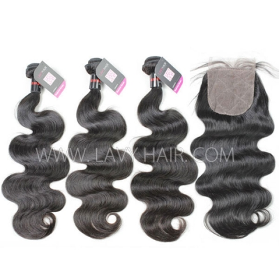 "Superior Grade mix 3 bundles with silk base closure 4*4"" Cambodian Body Wave Virgin Human hair extensions"