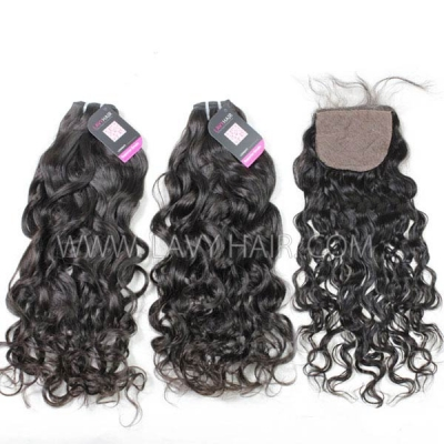 "Superior Grade mix 3 bundles with silk base closure 4*4"" Cambodian natural wave Virgin Human hair extensions"