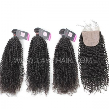 "Superior Grade mix 3 bundles with silk base closure 4*4"" Cambodian Kinky Curly Virgin Human hair extensions"