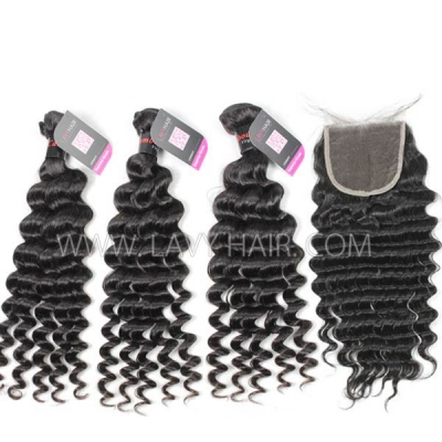 Superior Grade mix 4 bundles with lace closure Cambodian deep wave Virgin Human hair extensions