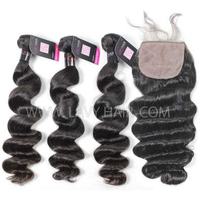 "Superior Grade mix 4 bundles with silk base closure 4*4"" Cambodian loose wave Virgin Human hair extensions"