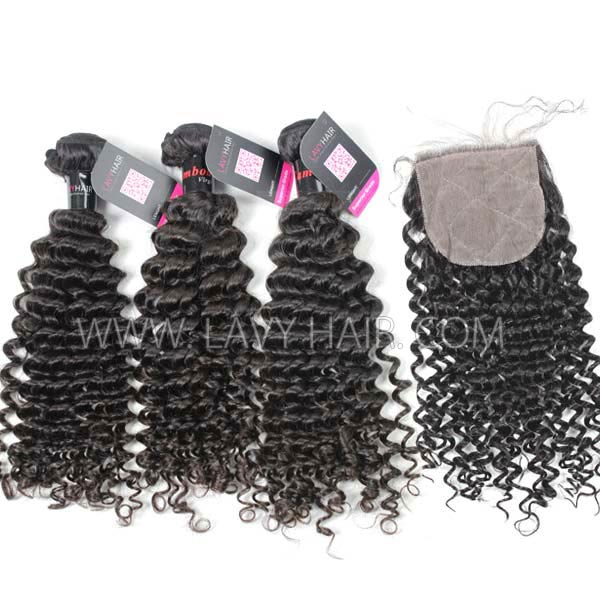 "Superior Grade mix 4 bundles with silk base closure 4*4"" Cambodian deep curly Virgin Human hair extensions"
