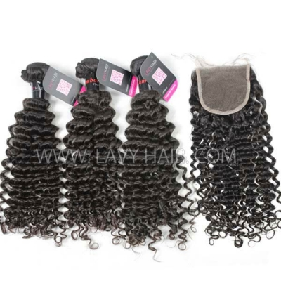 Superior Grade mix 3 bundles with lace closure Cambodian deep curly Virgin Human hair extensions