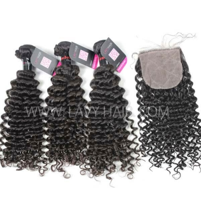 "Superior Grade mix 3 bundles with silk base closure 4*4"" Cambodian deep curly Virgin Human hair   extensions"