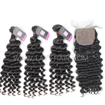 "Superior Grade mix 4 bundles with silk base closure 4*4"" Cambodian deep wave Virgin Human hair extensions"
