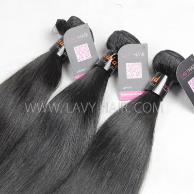Superior Grade mix 3 bundles with lace closure Indian Straight Virgin Human hair extensions