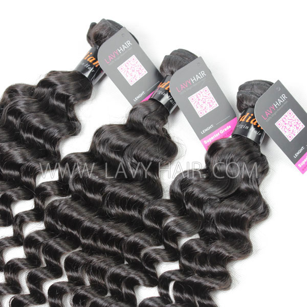 Superior Grade 1 Bundle Indian Deep Wave Virgin Human Hair Extensions