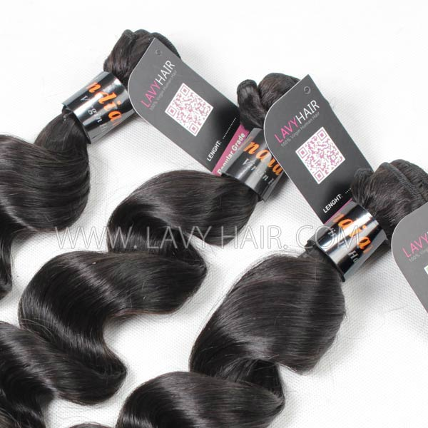 "Superior Grade mix 3 bundles with silk base closure 4*4"" Indian Loose Wave Virgin Human Hair Extensions"