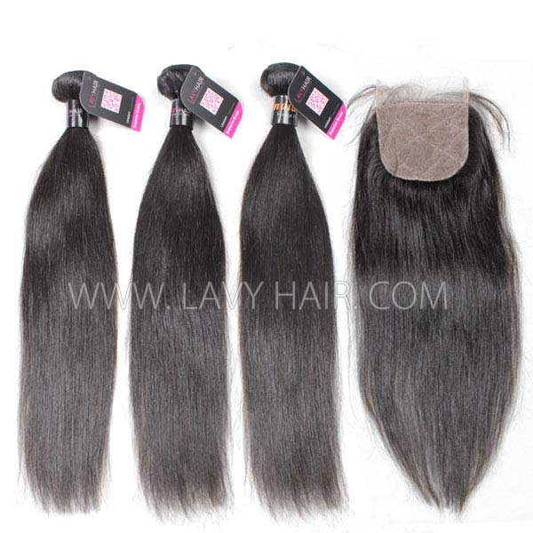 "Superior Grade mix 3 bundles with silk base closure 4*4"" Indian Straight Virgin Human hair extensions"