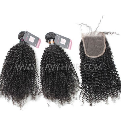 Superior Grade mix 3 bundles with lace closure Indian Kinky Curly Virgin Human hair extensions