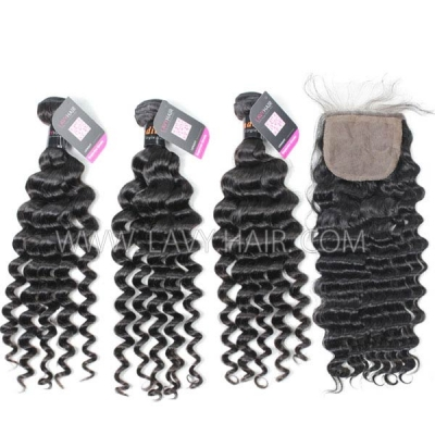 "Superior Grade mix 4 bundles with silk base closure 4*4"" Indian Deep wave Virgin Human hair extensions"