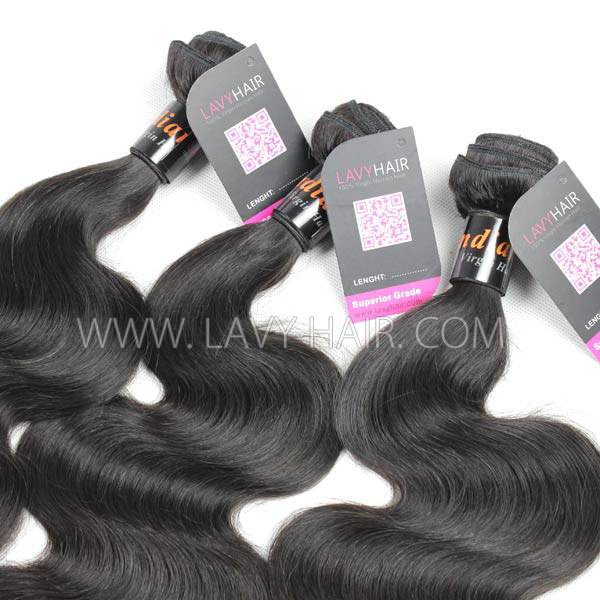 Superior Grade mix 3 or 4 bundles Indian body wave Virgin Human hair extensions