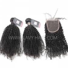 Superior Grade mix 4 bundles with lace closure Indian Kinky Curly Virgin Human hair extensions