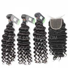 Regular Grade mix 4 bundles with lace closure Indian Deep wave Virgin Human hair extensions