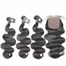 "Regular Grade mix 4 bundles with silk base closure 4*4"" Indian Body wave Virgin Human hair extensions"