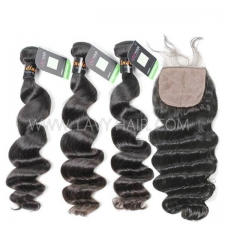 "Regular Grade mix 4 bundles with silk base closure 4*4"" Indian loose wave Virgin Human hair extensions"