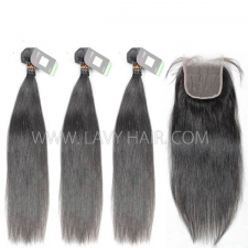 Regular Grade mix 4 bundles with lace closure Indian Straight Virgin Human hair extensions