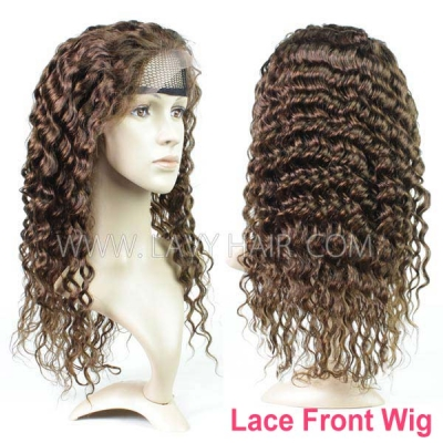#4 Brown Color Lace Frontal Wigs 130% Density Deep Wave Human Hair