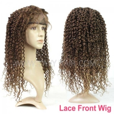 4# 100% Human hair lace front wigs 130% density deep curly