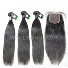 Regular Grade mix 3 bundles with lace closure Malaysian Straight Virgin Human hair extensions