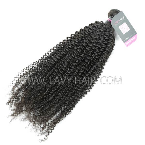 Superior Grade mix 3 bundles with lace closure Malaysian Kinky Curly Virgin Human hair extensions